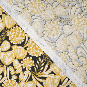 Tissu oeko tex Bethany noir -Tissu Coton imprimé