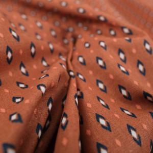 Coton imprimé - Tissu oeko tex Vadym terracotta  - Mercerine