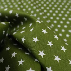 Tissu etoile vert kaki  - Popeline de coton - Mercerine