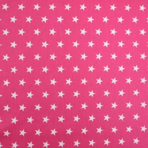 Tissu etoile rose fuchsia   - Popeline de coton - Mercerine