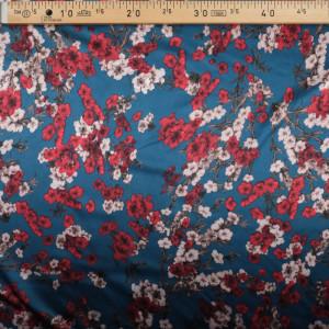 Tissu Satin kimono fleurs bleu pétrole x10cm - Mercerine