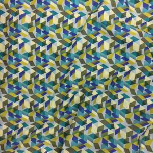 Tissu Coton Imprime Triangles Bleu Vert Jaune Mercerine