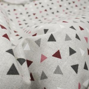 Coton épais triangles bordeaux effet lin   - Mercerine