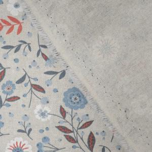 Coton épais floral glacier effet lin   - Mercerine
