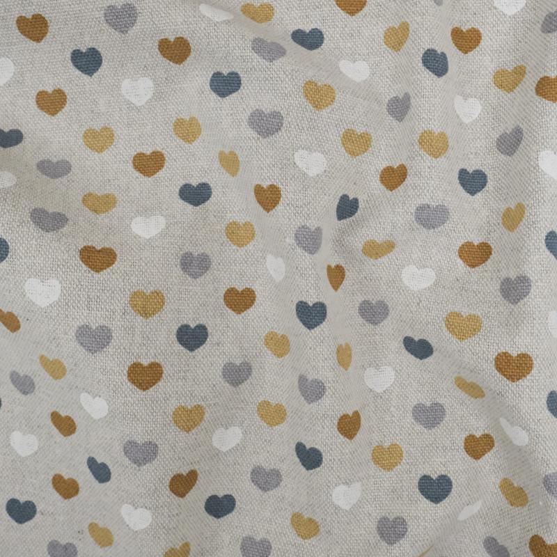 Coup de cœur pour ce tissu coeur  ocre  facile à utiliser. Tissu épais , facile à coudre, pas cher et de qualité.  - Chez vous