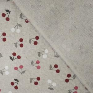 Coton épais cerises bordeaux effet lin   - Mercerine