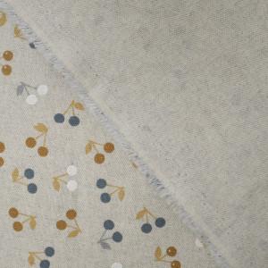 Coton épais cerises ocre effet lin   - Mercerine