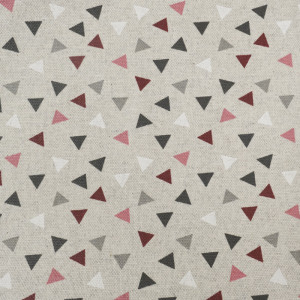 Toile enduite triangle bordeaux Pyramide effet lin  - Mercerine