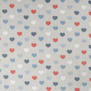 Toile enduite coeur glacier Valentine effet lin  - Mercerine