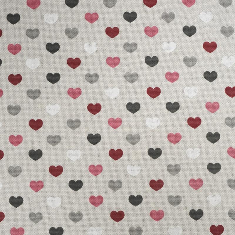 Toile enduite coeur bordeaux Valentine effet lin  - Mercerine