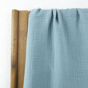 Triple gaze de coton bleu  - Mercerine