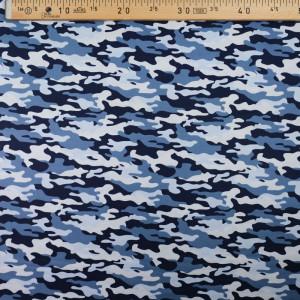 Coton camouflage bleu - 10cm