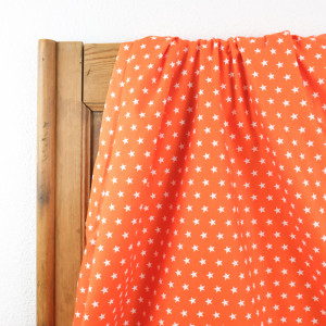 Tissu etoile orange  - Popeline de coton - Mercerine