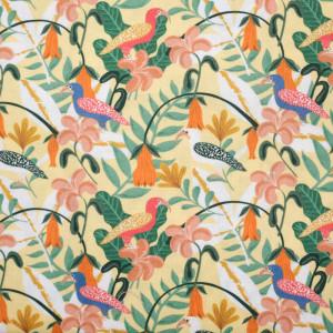Coton bio imprimé Oiseaux de la Jungle Jaune