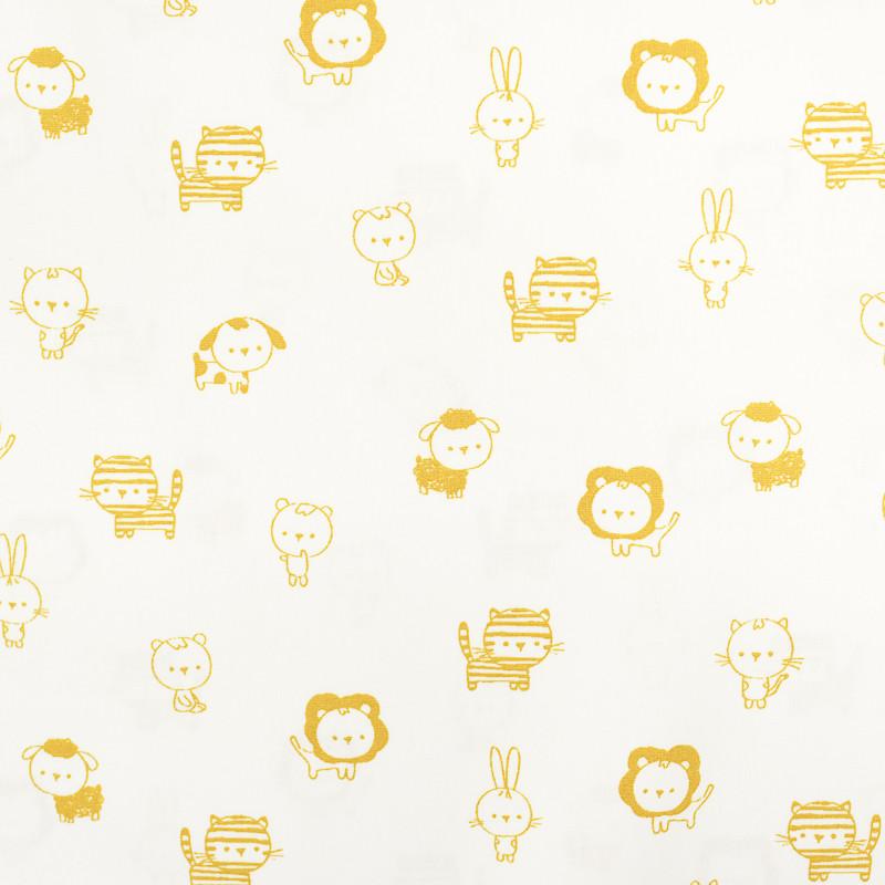 Coton Imprimé petits animaux jaunes