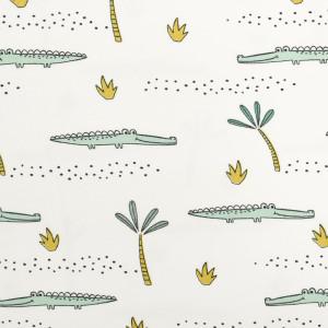 Jersey de coton Bio Blanc Crocodiles