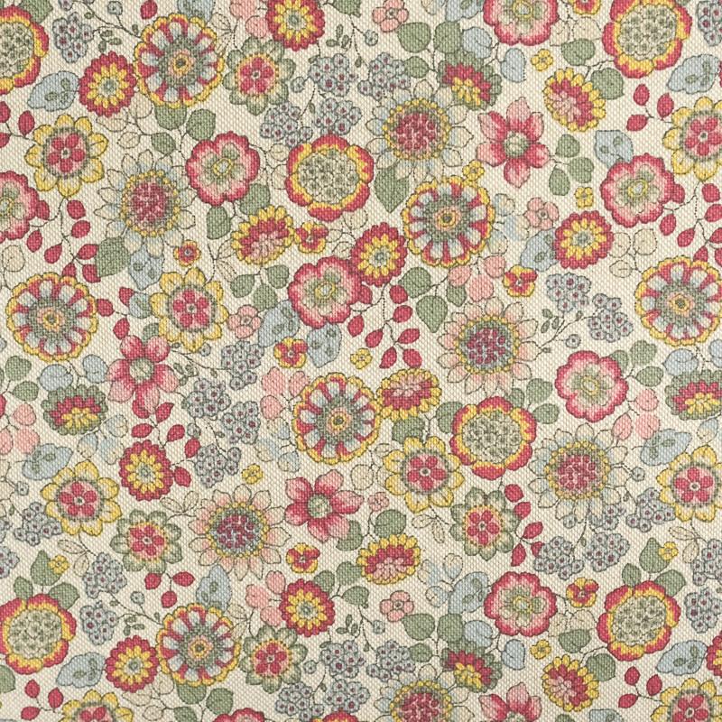 Coton épais fleuri orange Imitation lin