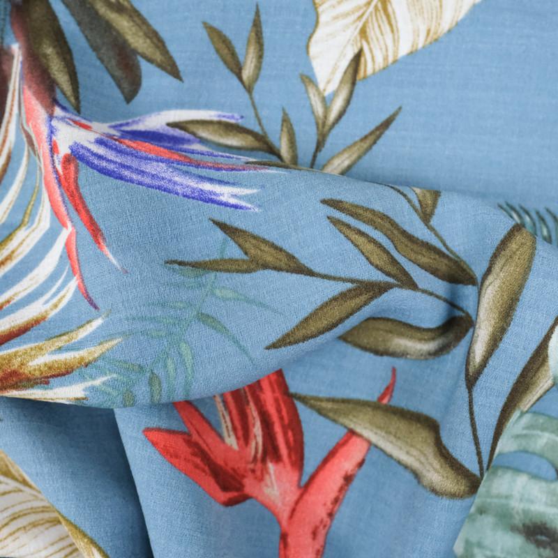 Crêpe feuillage tropical fond bleu