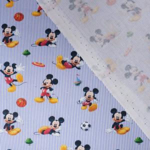 Tissu Mickey foot rayé bleu