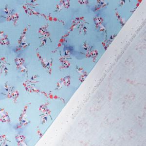 Tissu la reine des neiges Olaf bleu