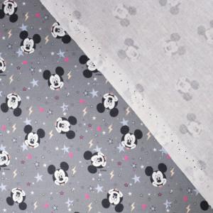 Tissu Mickey fond gris digital