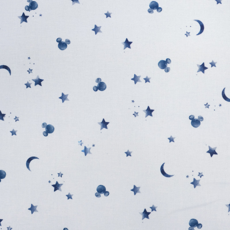 Tissu Mickey Lune empreinte bleu