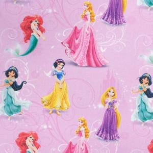Tissu Princesse Disney fond rose