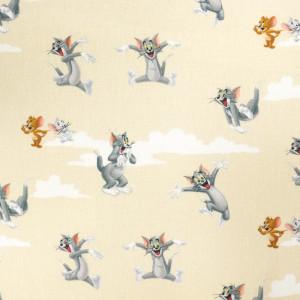 Tissu Tom et Jerry sur fond beige