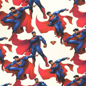 Tissu Superman sur fond écru