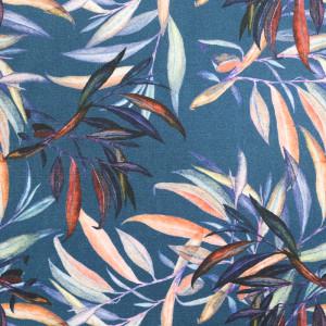 Coton imprimé bleu feuillages tropicales oekotex