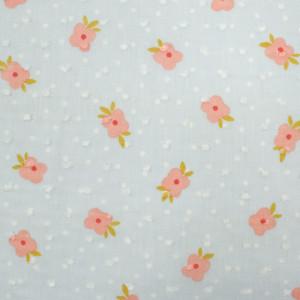 Plumetis de coton bleu ciel fleurs roses