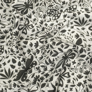 Jersey de coton gris Papillons noirs