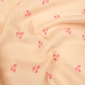 Double gaze de coton rose fleurs lurex