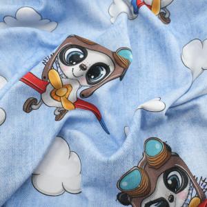 Jersey de Coton Impression Digitale Petit aviateur