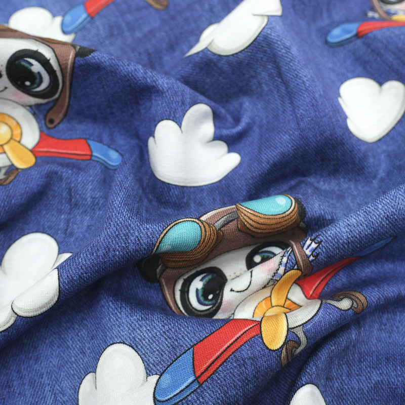 Jersey de Coton Impression Digitale petit Aviateur bleu jean