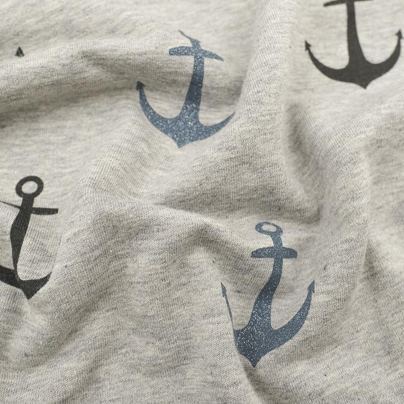 Jersey coton Gris ancres de marine