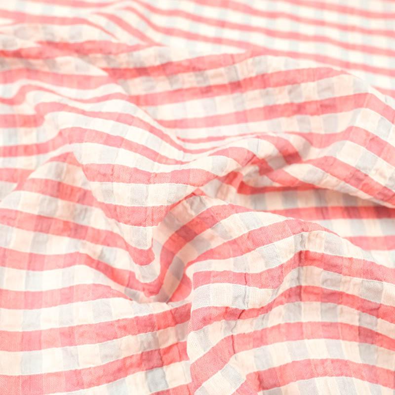 Voile de coton Vichy gris et rose seersucker Kate