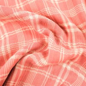 Gaze de Coton Tartan Ecru et rose Kate