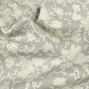 Popeline de coton fleuri crème sur fond gris