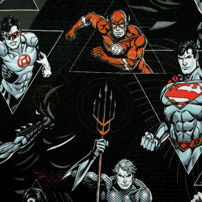 Jersey de coton noir supers héros-