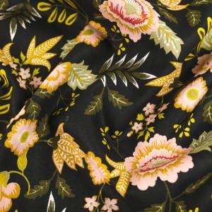 Popeline de coton noire grandes fleurs vintage