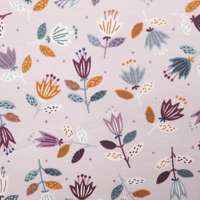 Jersey de coton lilas fleurs naives