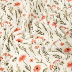 Jersey de coton crème  fleurie impression digitale