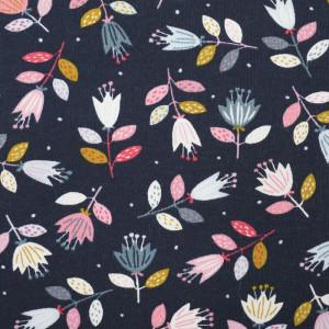 Jersey de coton bleu  fleurs naives