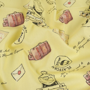 Popeline de coton Poudlard express jaune- 10cm