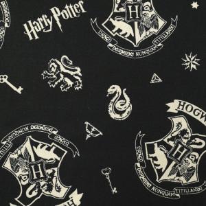 Popeline de coton noire Harry potter et les 4 maisons