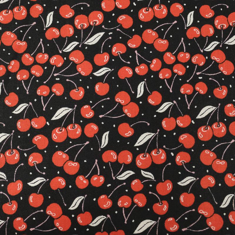 Popeline de coton noire cerises délicieuses