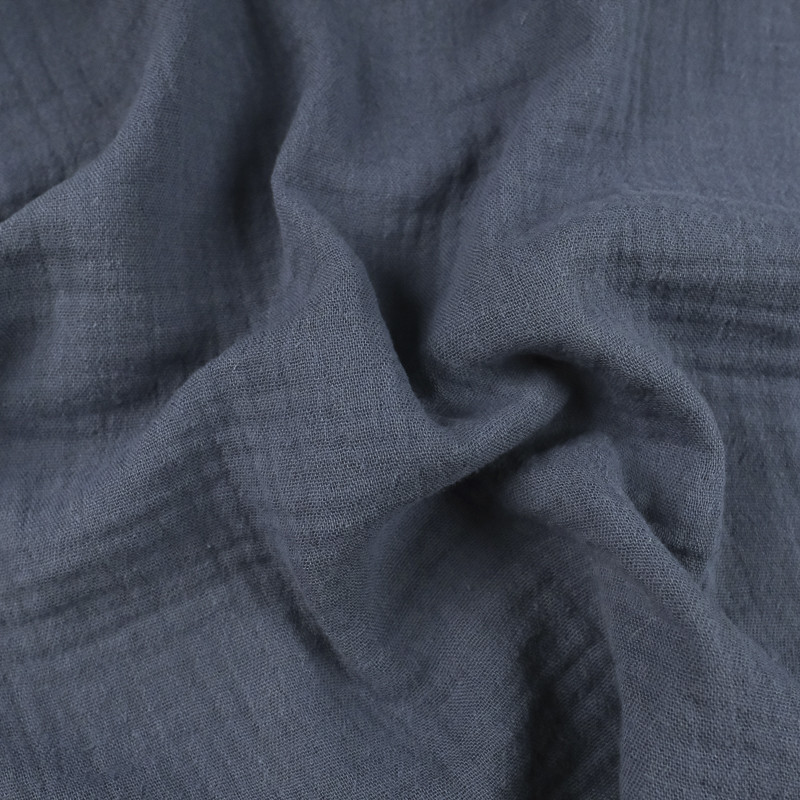 Double gaze de coton Bio Gots bleu ardoise