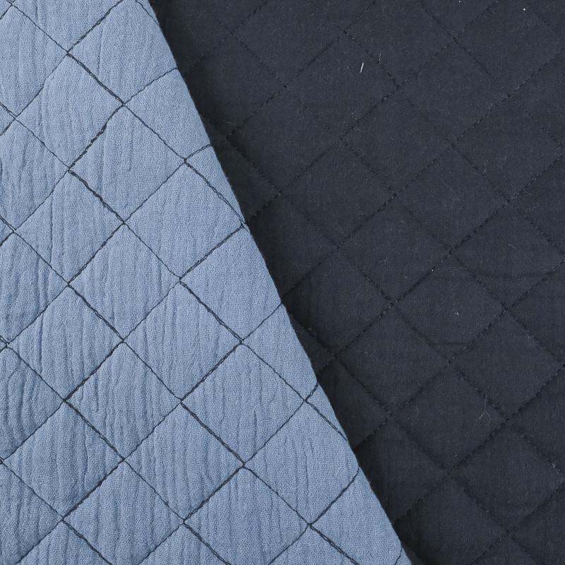 Double gaze de coton matelassé double face - Bleu/Bleu clair