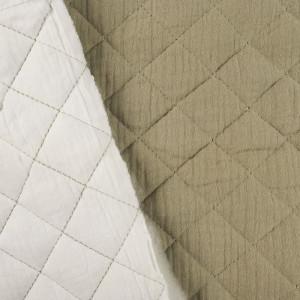 Double gaze de coton matelassée double face - Beige/Blanc